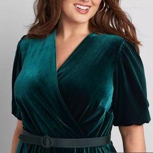 Lane Byrant Velour Crossover Fit & Flare Dress